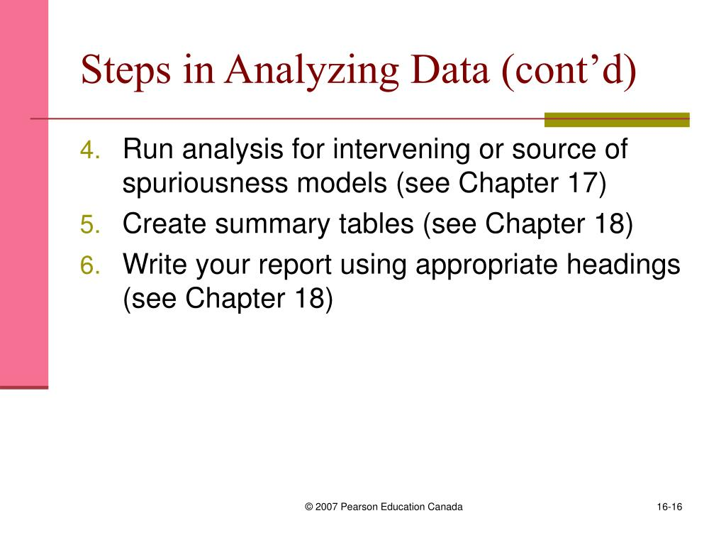 Steps in Analyzing Data (cont'd)