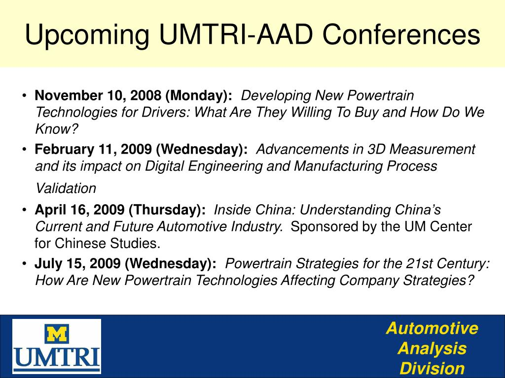 Upcoming UMTRI-AAD Conferences