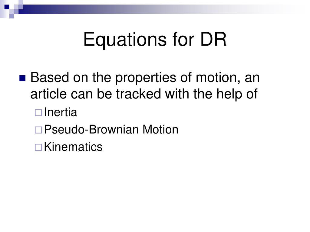 Equations for DR