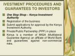 ivestment procedures and guarantees to investors