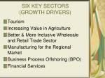 six key sectors growth drivers