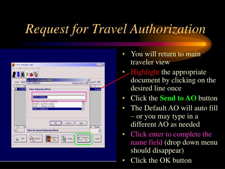 Request for Travel Authorization