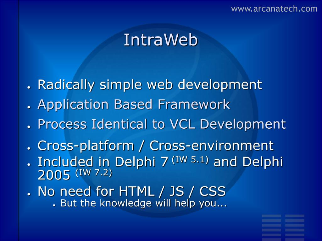 PPT - Web Application Development in IntraWeb PowerPoint