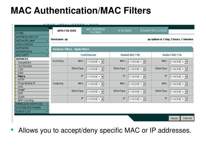 MAC Authentication/MAC Filters