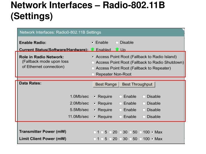 Network Interfaces – Radio-802.11B (Settings)