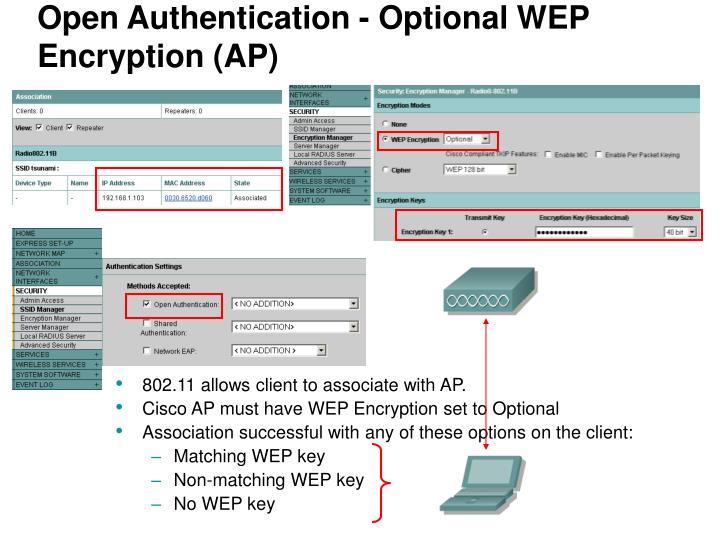 Open Authentication - Optional WEP Encryption (AP)