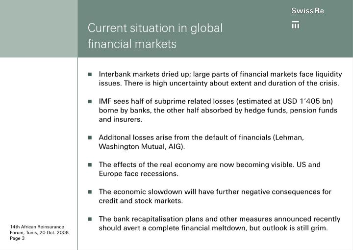 Current situation in global financial markets