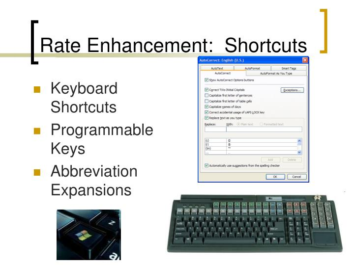 Rate Enhancement:  Shortcuts
