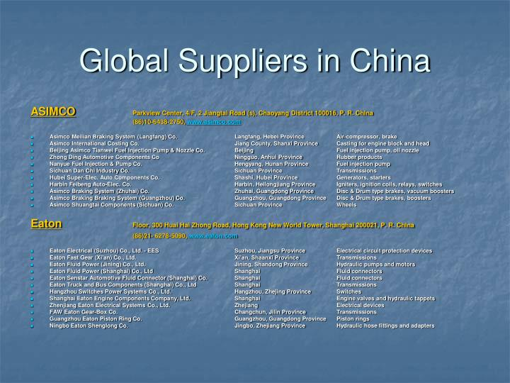 Global Suppliers in China