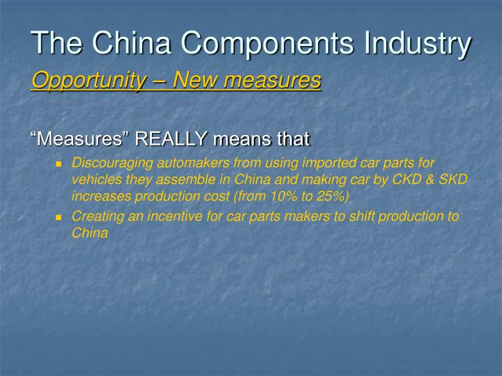 The China Components Industry