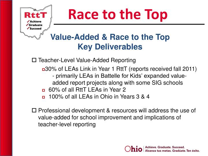 Value added race to the top key deliverables