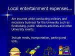local entertainment expenses