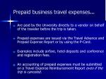 prepaid business travel expenses