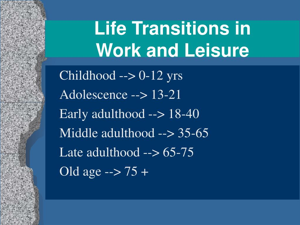 life transitions in work and leisure l.