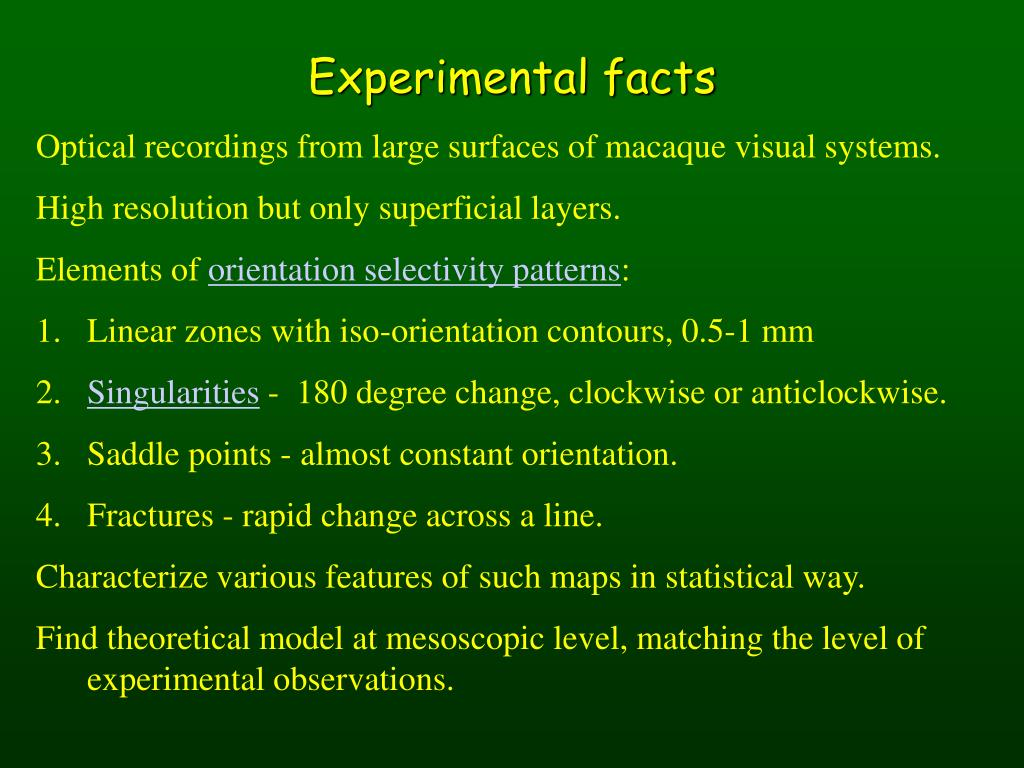 Experimental facts