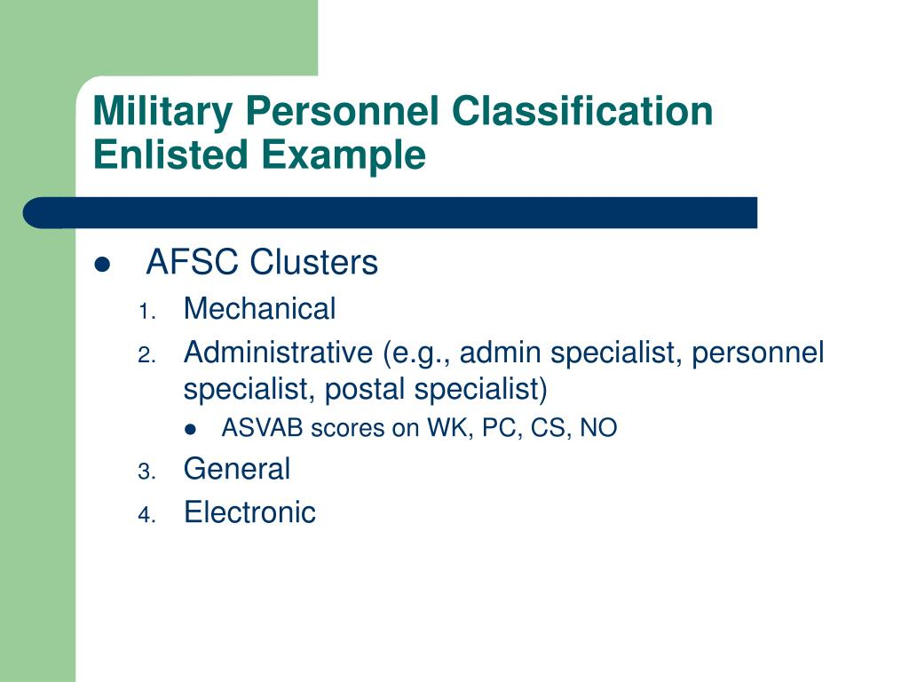 Military Personnel Classification
