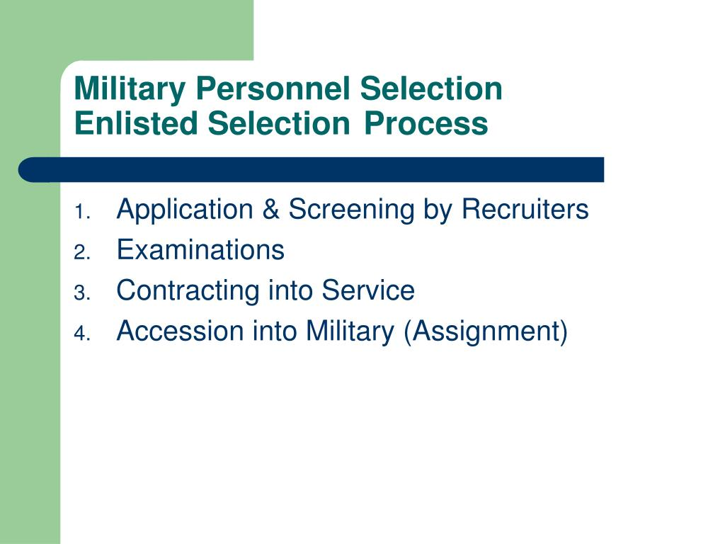 Military Personnel Selection