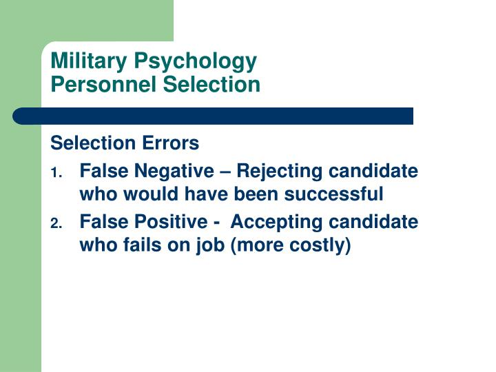 Military psychology personnel selection