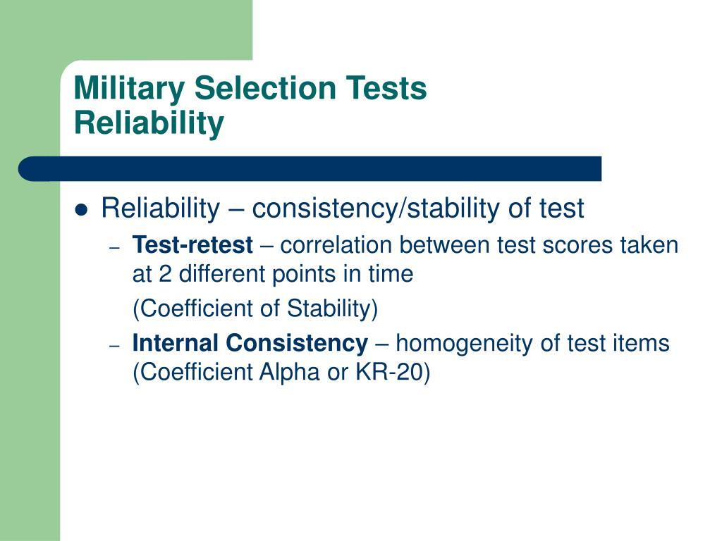 Military Selection Tests