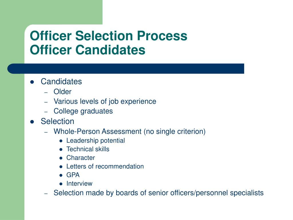 Officer Selection Process