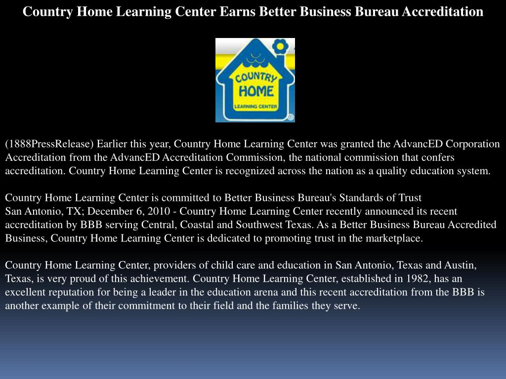 Ppt Country Home Learning Center Earns Better Business Bureau Ac