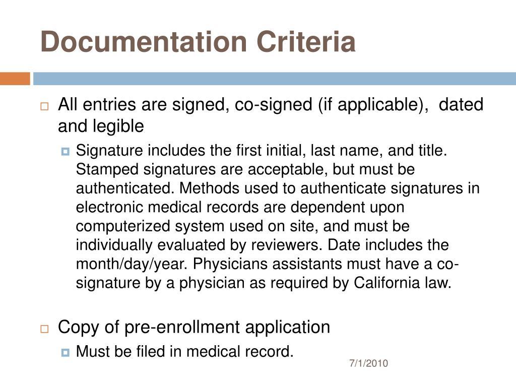 Documentation Criteria