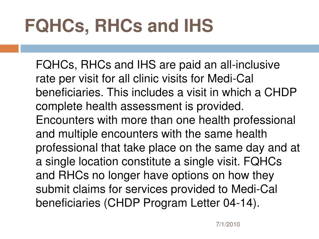 FQHCs, RHCs and IHS