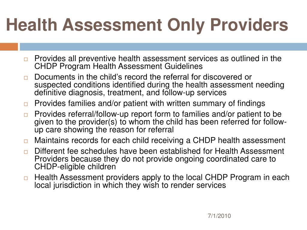 Health Assessment Only Providers