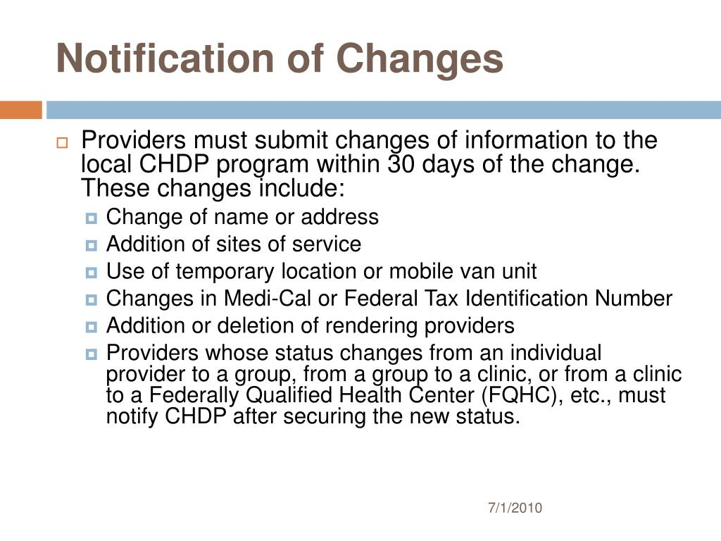 Notification of Changes
