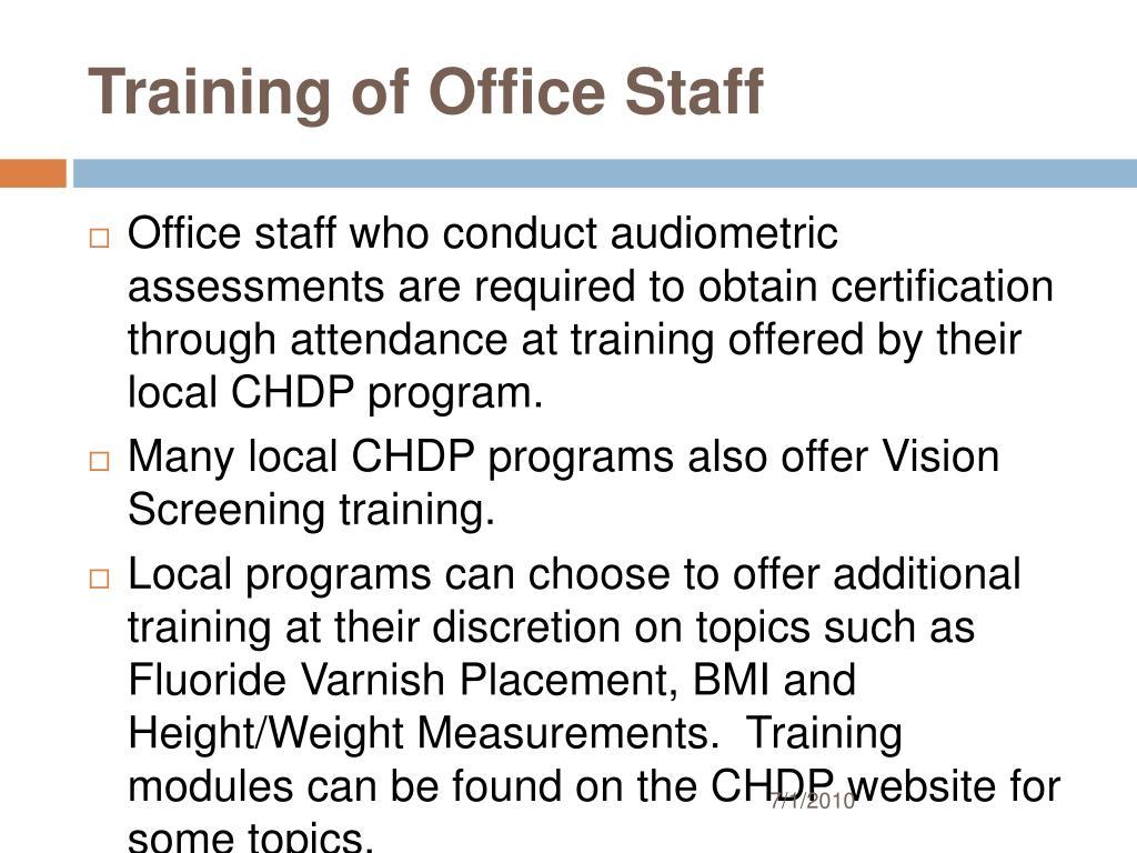 Training of Office Staff