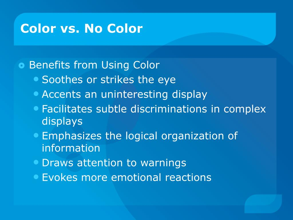 Color vs. No Color