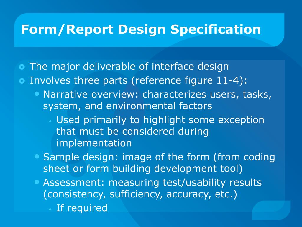 Form/Report Design Specification