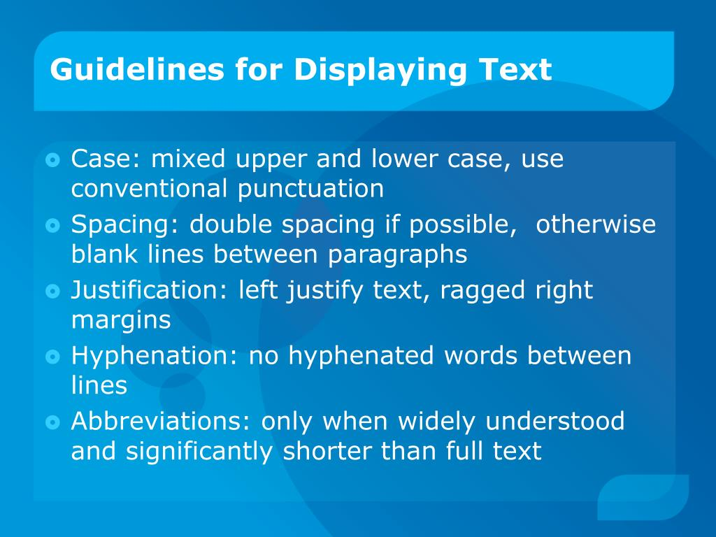 Guidelines for Displaying Text