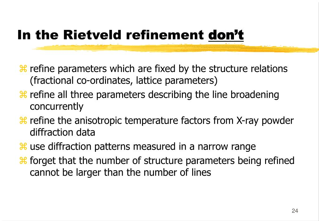 PPT - Rietveld Analysis of X-ray and neutron diffraction