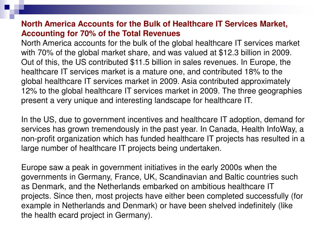 North America Accounts for the Bulk of Healthcare IT Services Market, Accounting for 70% of the Total Revenues