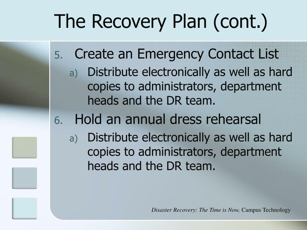 The Recovery Plan (cont.)