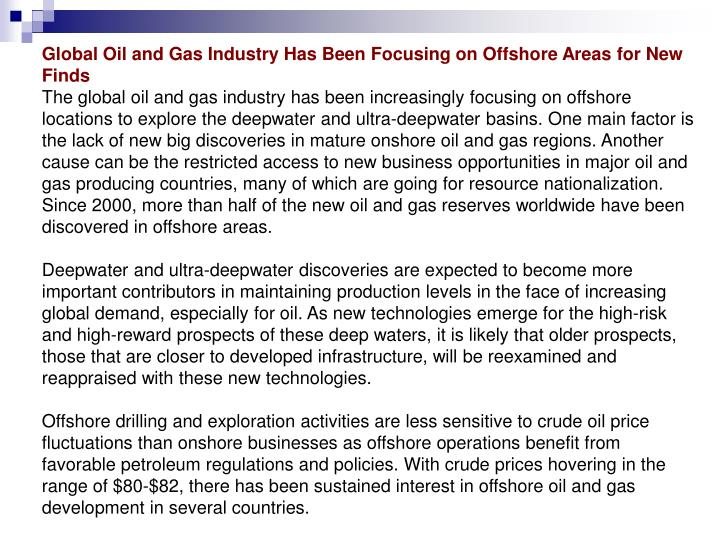 Global Oil and Gas Industry Has Been Focusing on Offshore Areas for New Finds