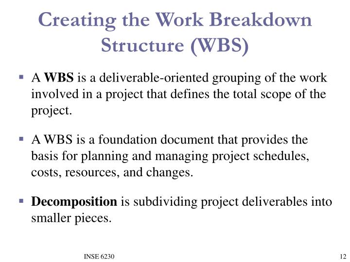 Creating the Work Breakdown Structure (WBS)