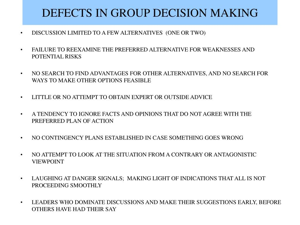 DEFECTS IN GROUP DECISION MAKING