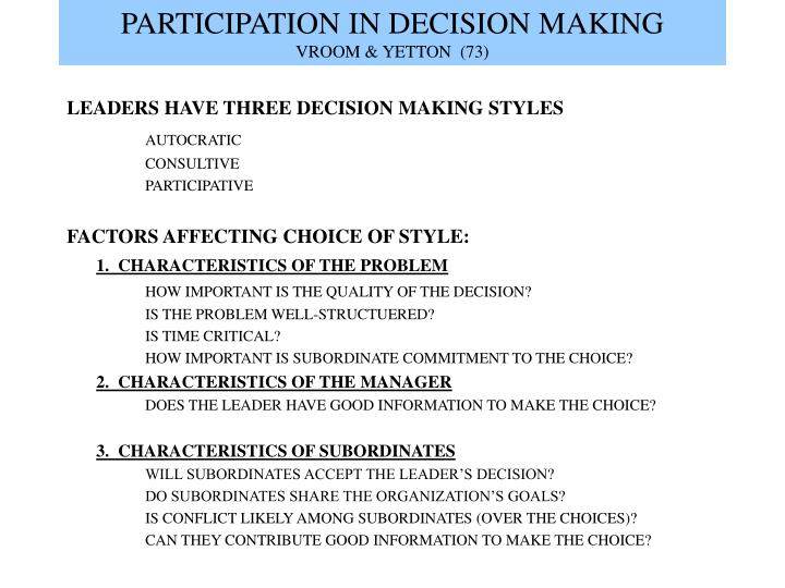 Participation in decision making vroom yetton 73