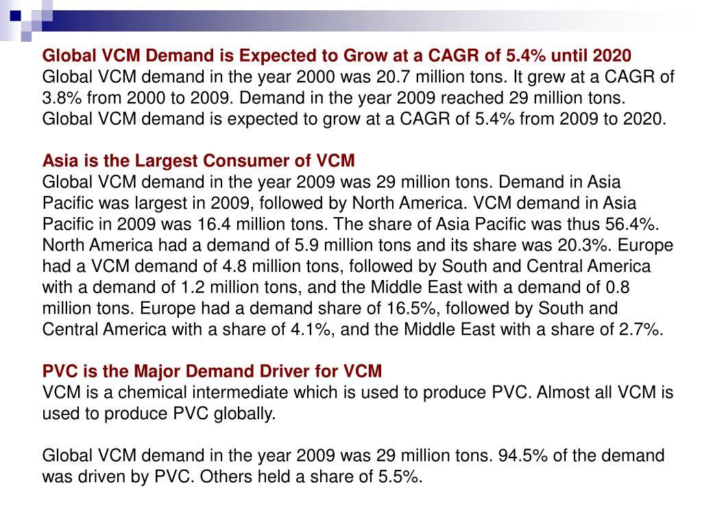 PPT - vinyl chloride monomer (vcm) global market dynamics to 2020