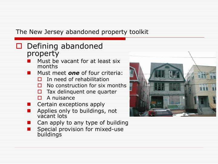 The new jersey abandoned property toolkit1