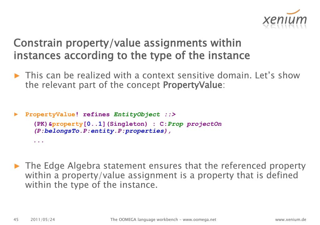 Constrain property/value assignments within instances according to the type of the instance