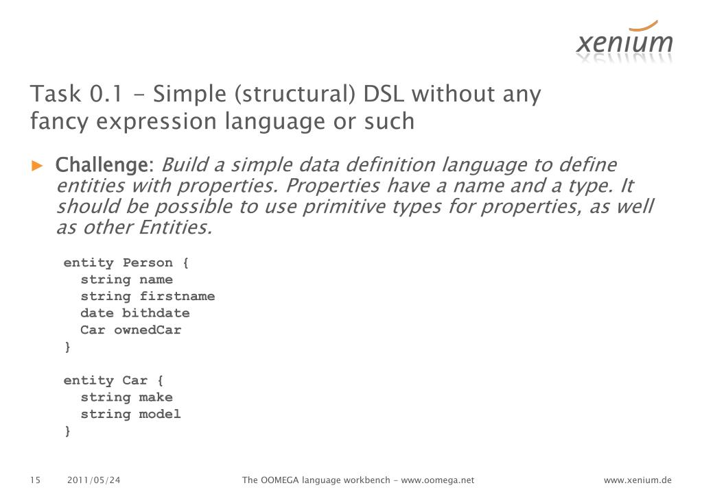 Task 0.1 - Simple (structural) DSL without any fancy expression language or such
