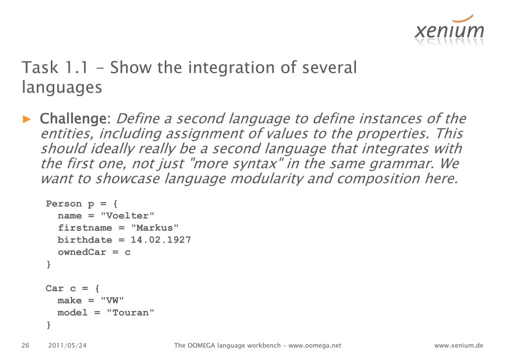 Task 1.1 - Show the integration of several languages