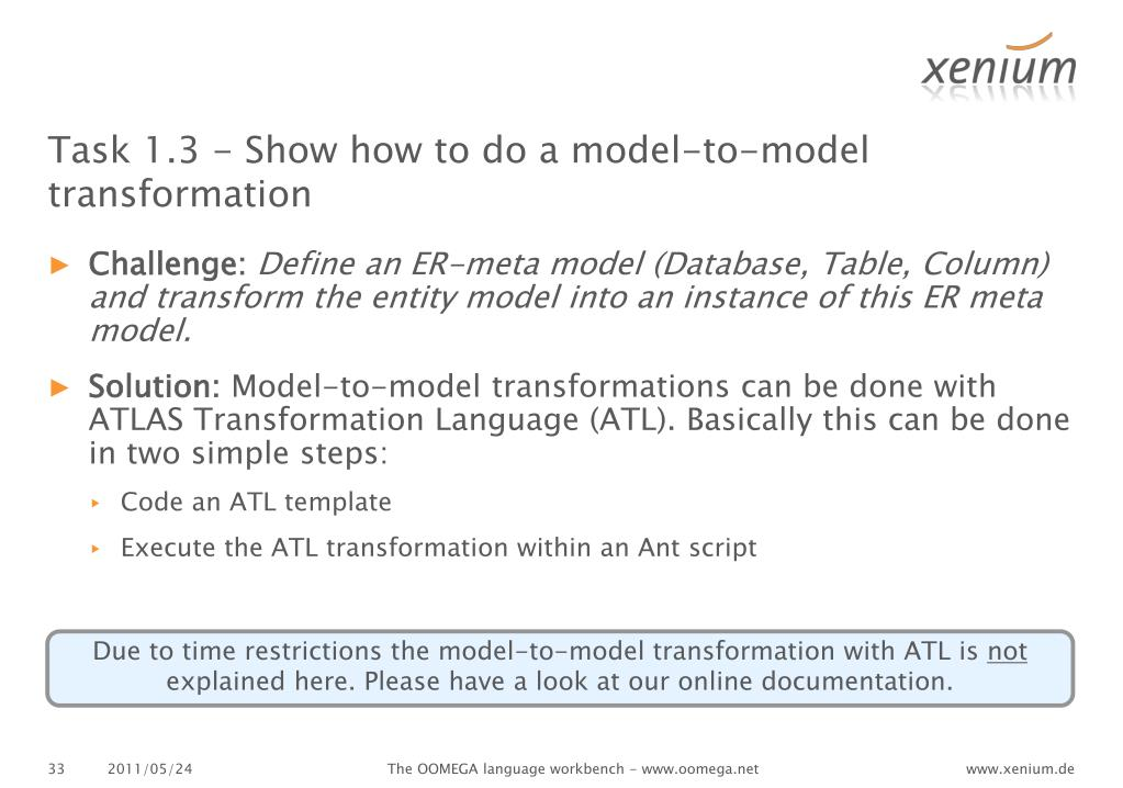 Task 1.3 - Show how to do a model-to-model