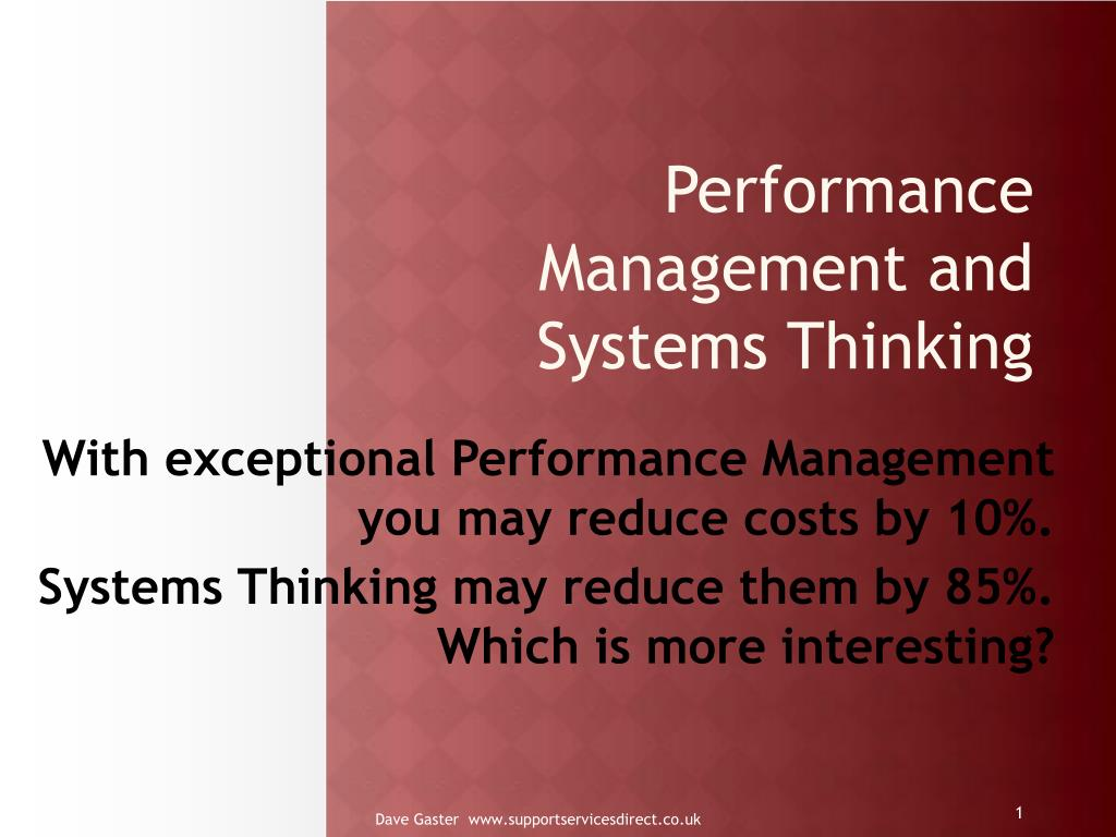 Performance Management and Systems Thinking