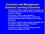 economic and management sciences learning outcomes