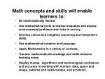 math concepts and skills will enable learners to