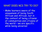 what does ncs try to do28